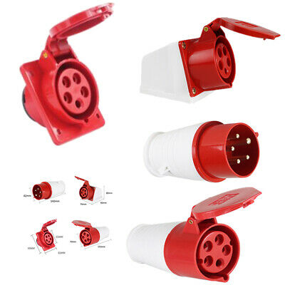 Red 415V 5 Pin Industrial Plug Socket Tool IP44 3 Phase 3P+N+E Male/Female Hot