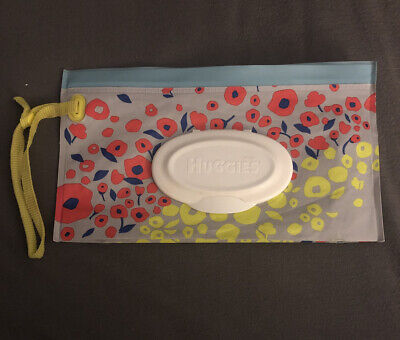 Huggies Natural Care Clutch & Clean Refillable Carrier Floral Animal HTF EUC