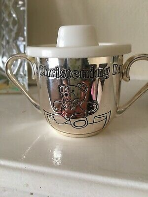 Christening Gift Silver Plated My Christening Day Cup Good Condition