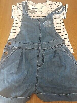 Girls Marks @ Spencers Outfit T-Shirt @ Denim Short Dungaress Age 6-7 Years