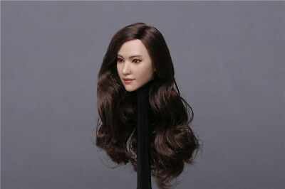 1//6 Ada Head Sculpt with Black Straigh Hair for 12in Female Action Figure Toy