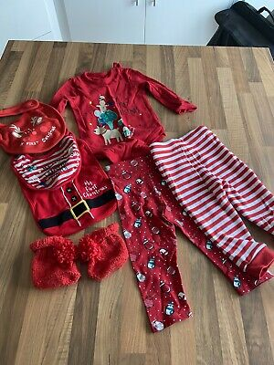 Christmas Set Top Trousers Bib And Booties 6-9 Months VGC