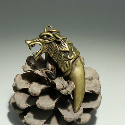 Collectable Handwork China Old Bronze Carve Wolf Delicate Noble Decor Pendant
