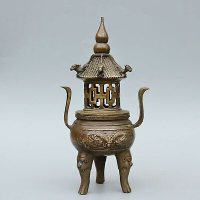 Collect China Old Bronze Hand-Carved Myth Dragon Moral Bring Luck Incense Burner
