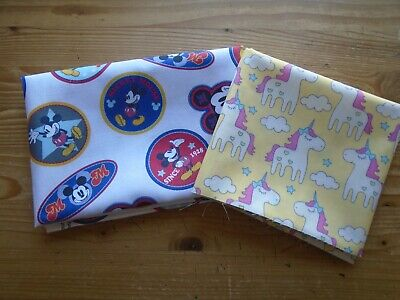 Fat Quarter Bundle of 2 Mickey Mouse & Unicorns Fabrics Fabric Cotton Craft New