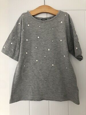 Girls Next Grey Short Sleeve T Shirt With Pearl Details Age 6
