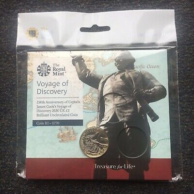 2020 UK £2 Brilliant Uncirculated Captain Cook Coin III 1770 Royal Mint Coin