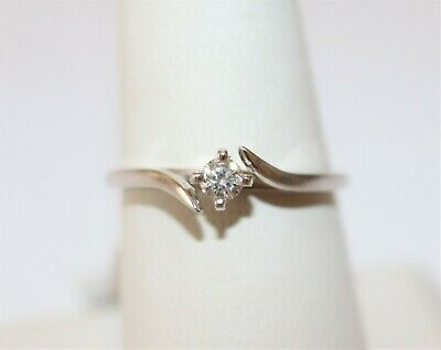 14K White Gold 0.16CT Round Diamond Engagement Ring Size 7.25