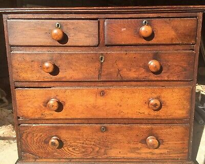 Antique Solid Oak Chest Of Drawers, Georgian or early Victorian