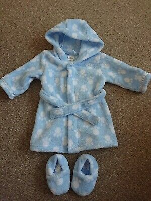 Baby Dressing Gown And Slippers 3-6 Months