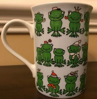 Pier 1 Imports Coffee Tea Mug Cup Frogs Green White Collectible