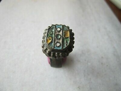 Antique Rare Medieval Byzantine Bronze  Enamel  Ring