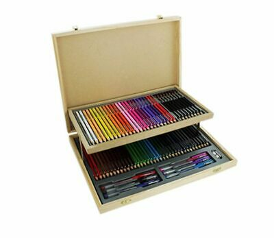 75 Pieces Double-level Wooden Case Stationery Set Art Sketch Sealed