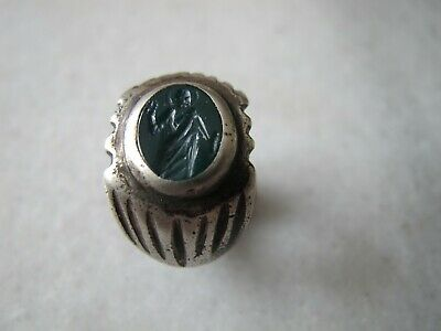 Antique  Byzantine  Silver Seal Ring With  Intaglio Jasper Stone