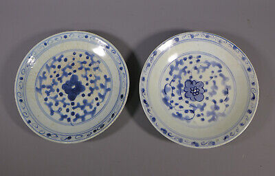 Pair Of Antique 18Th C. Chinese Shipwreck? Porcelain Plates / Dishes
