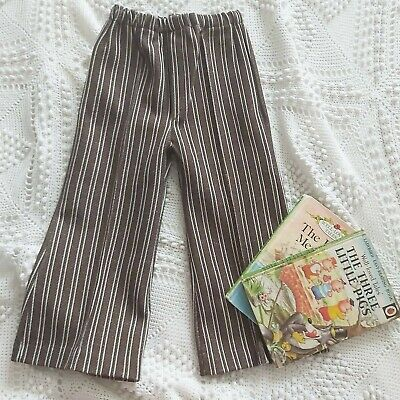 VINTAGE RETRO 70s 1970s DEADSTOCK NEW BROWN UNISEX FLARES FLARED TROUSERS 2yrs