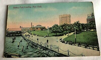 Battery Park Landing, New York, vintage postcard