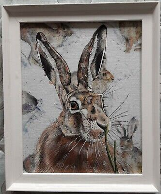 Original wildlife hare picture painting voyage hurtling hares fabric