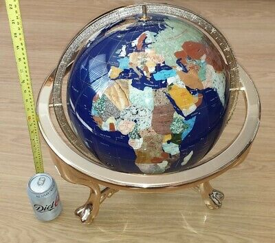 Large Lapis Gemstobe Globe Semi Precious Stones Stand With Compass Boxed New