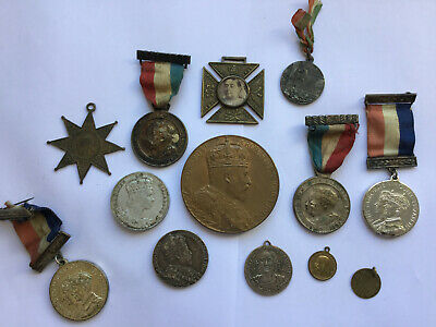 13 x Antique Victoria / Edward Coronation Medals No Reserve