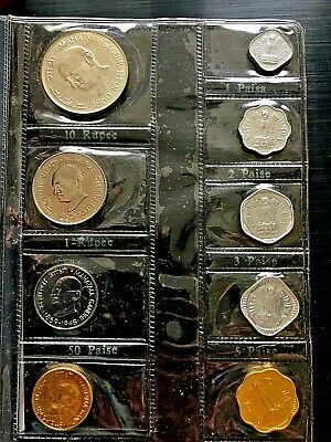 India 1969 Mint Proof Set of 9 Coins,With Gandhi Silver Coin.!