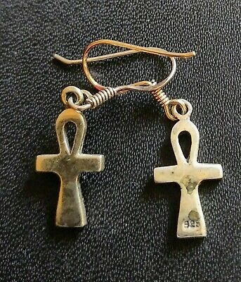 Pair Of Sterling Silver Ankh Earrings/Egyptian
