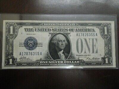 1928 United States $1 Blue Seal Funny Back Silver Certificate