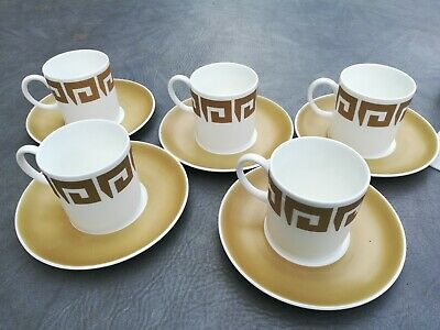 Wedgewood Susie Cooper Design old gold keystone 5 x Coffee cups and saucers