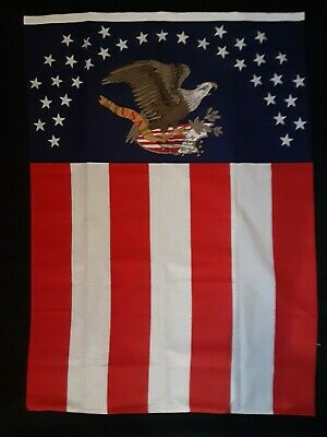 Rare Vintage American Flag Banner with Eagle and Stars