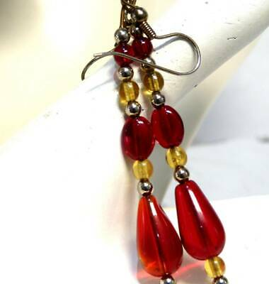 Vintage Art Deco Style  Cherry Red  Lucite Old  Plastic Long  Dangle Earrings,