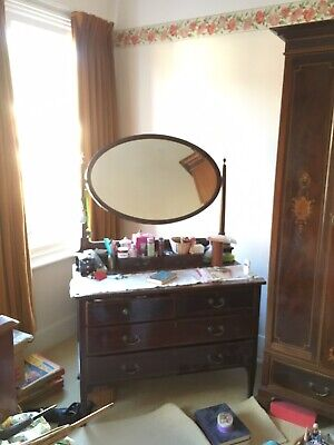 An Edwardian Dressing Table With Swing Oval Mirror