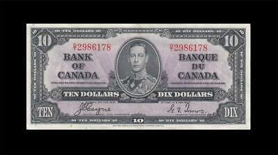 """1937 BANK OF CANADA KGVI $10 **Coyne & Towers** """"D/T"""" (( EF+ ))"""