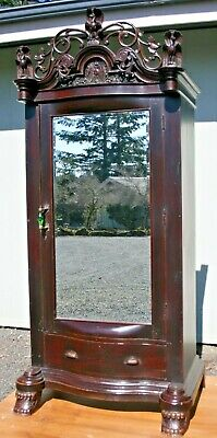 ANTIQUE ARMOIRE with BEVELED MIRROR & CARVED  WOOD  PAW FEET