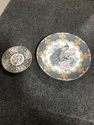 House Clearance Lot 2 Pc Art Decoration Japan Plate Saucer Birds
