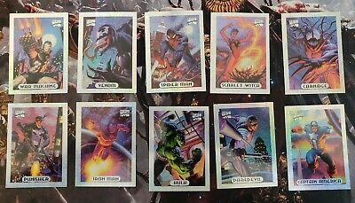 1994 Marvel Masterpieces Limited Edition Silver HoloFoil Complete Set 1-10