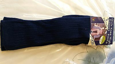 girls boys navy 2 pack knee school socks BNIP size 12-3.5 euro 31-35