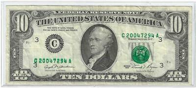 1981 $10 Excess Inking of Green Seal and Lower Serial Number