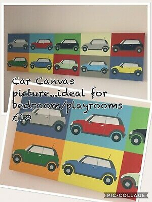 Wall Art For Playroom/Bedroom ~ Car Theme / Primary Colours
