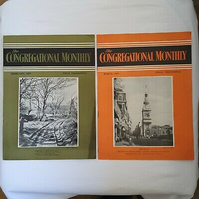 Vintage 1955 Church Magazines - The Congregational Monthly - February & March