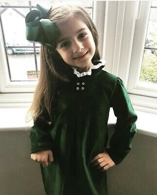 Green Velvet D.O.T dress Age 6-8 Years With Hairbow & Knee Socks Worn Once