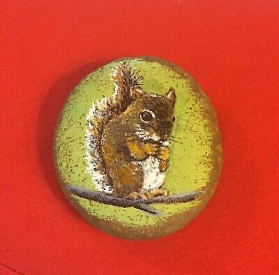 Hand Painted River Rock Art - Squirrel