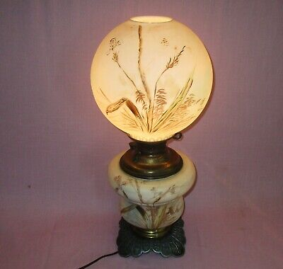 Antique Bradley & Hubbard Juno GWTW Glass Hand Painted Parlor Table Oil Lamp