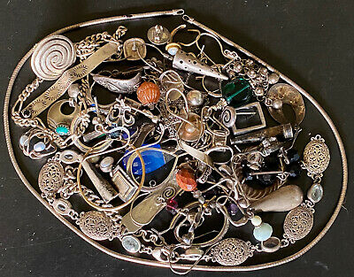 925 Sterling Silver Scrap Mix W/ Some Stones 122 Grams