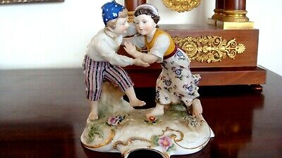 Antique Ludwigsburg Germany EARLY Porcelain Hand Painted Figurine Pair Peasants
