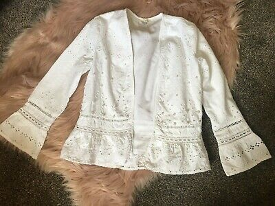 River Island Girls Broderie Anglais  White Jacket Age 7-8 Years