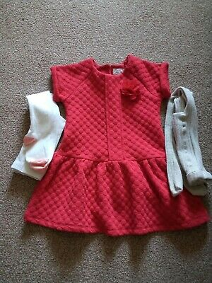 Girls Next Dress + M&Co Tights Age 2/3Years