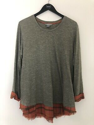 Natural Reflections Top Gray Orange Flannel Size XL long Sleeve