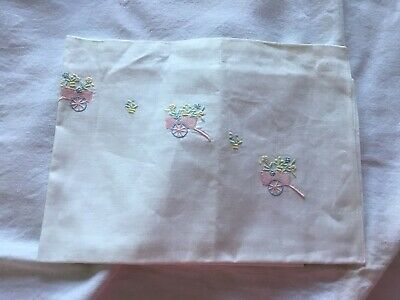 3 Vintage Embroidered Baby Pillow Cases