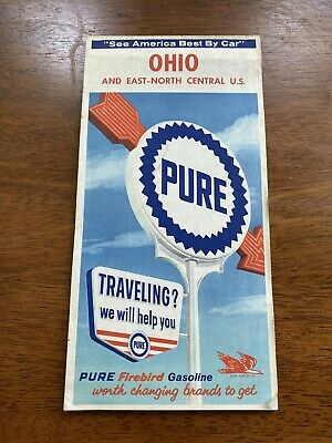 Vintage PURE Firebird Gasoline Map Ohio & East-North Central United States US
