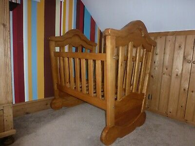 Small traditional style baby cot up to 1 year pine wood